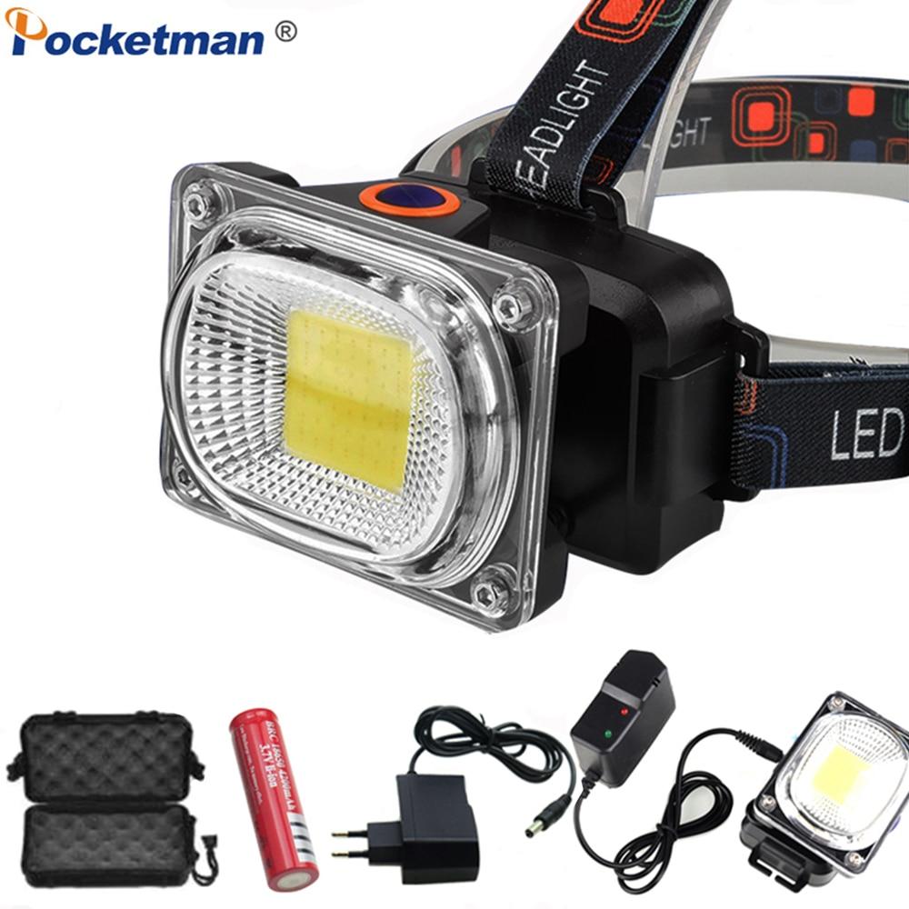 Super Powerful COB LED Headlamp DC Rechargeable Headlight Waterproof Head Lamp Powerful Head Light Head Torch Use 18650 Battery