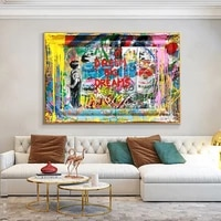 street graffiti dream big dream art canvas painting abstract boy colorful poster and prints wall picture for living room decor