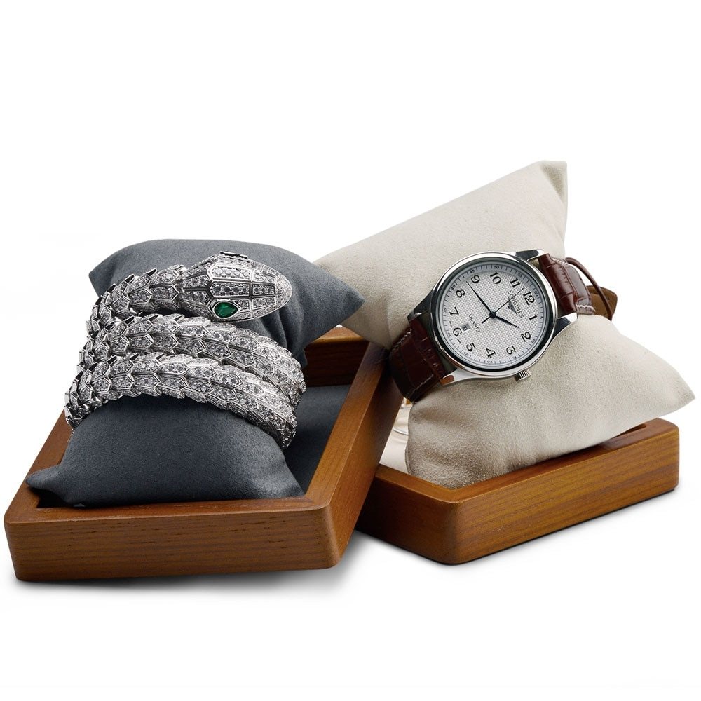 Oirlv Wooden Watch Bracelet Display Stand With Pillow Watch Box Jewelry Display Stand Jewelry Organizer Photography Props ice gray bracelet watch storage box display stand dust proof glass transparent watch box display props small pillow wholesale