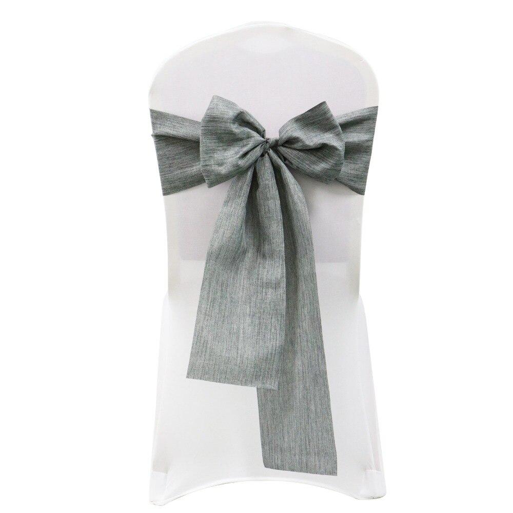 1 Uds. Fajas de lino de imitación para silla, decoraciones para boda, modernas sillas con lazo, lazos para decoración de silla de casa, banquete, fiesta