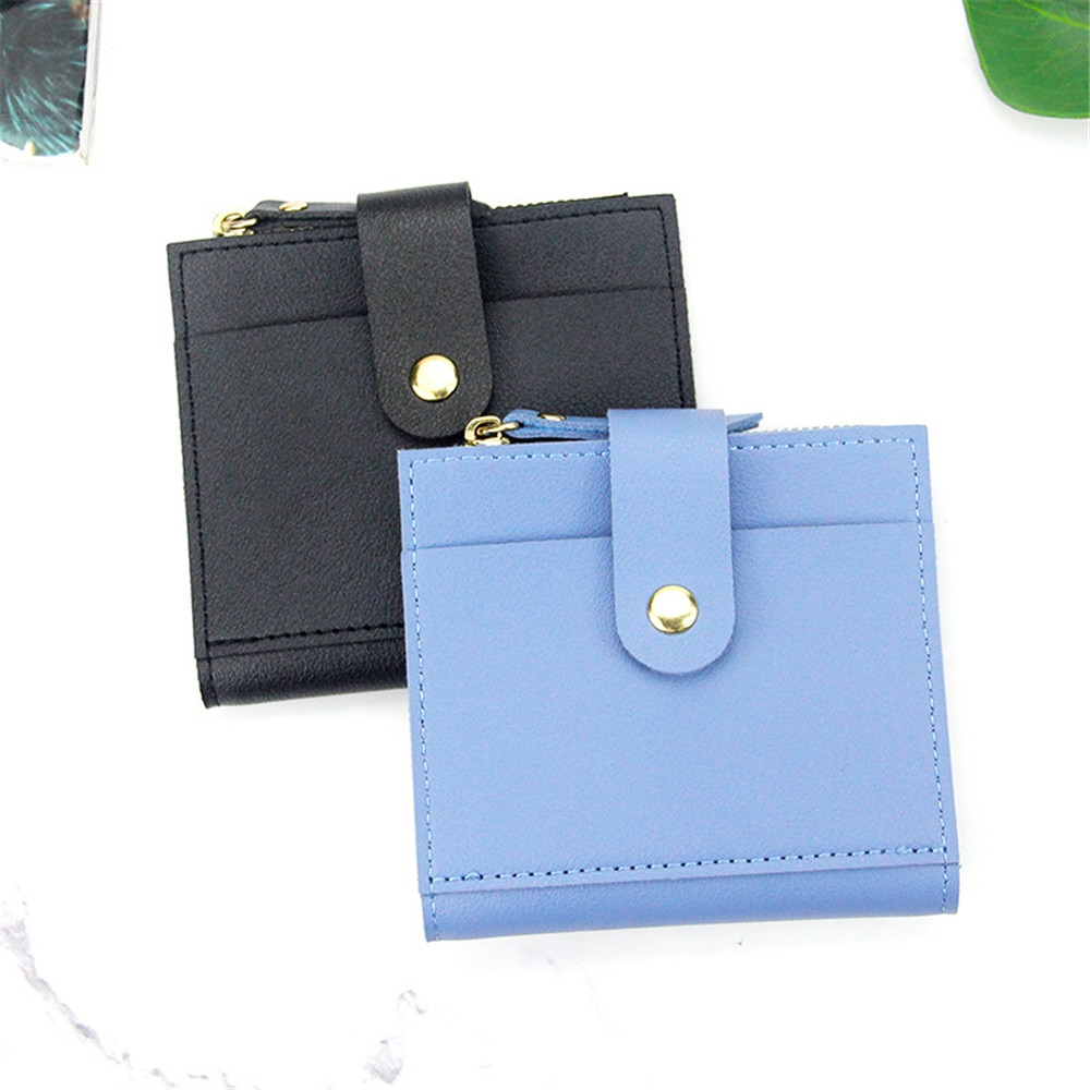 Short Wallet Unisex Coin Purse PU Leather ID Credit Name Bank Business Card Holder Case Zipper Femal
