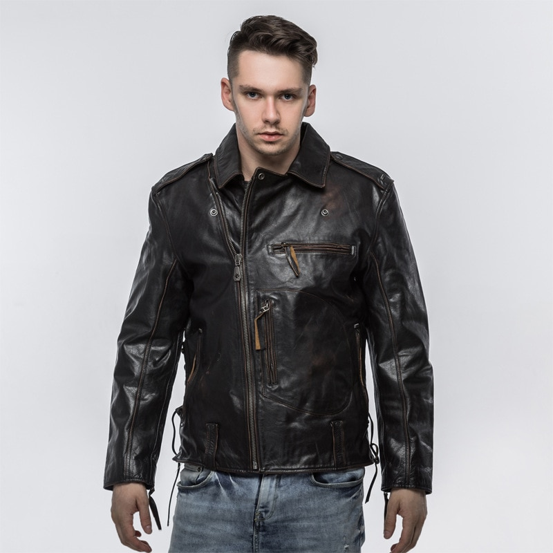 Leather Vintage Casual Outwear Classic Leather Clothing Cowhide Jacket Mens Genuine Leather Coat