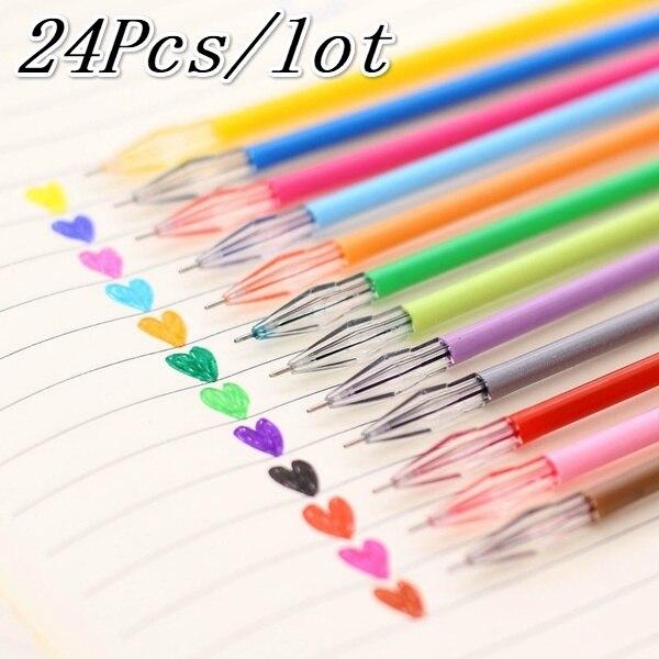 24 шт цветная Алмазная головка ful Refils, оригинальная конфетная заправка 12 цветов, Заправка для гелевой ручки 0,38 мм, офисные канцелярские принадлежности, школьные принадлежности