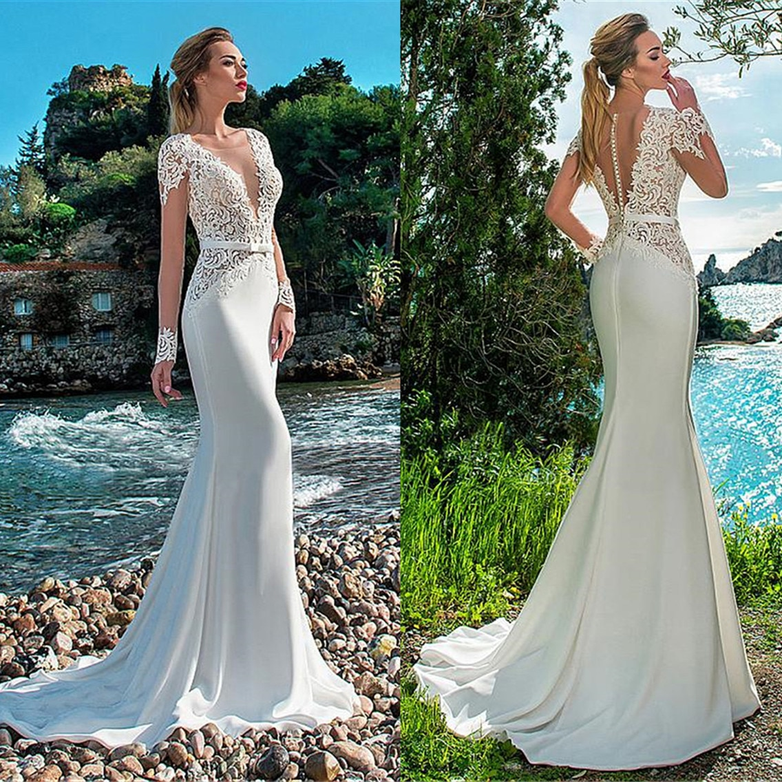 Sexy Beach Mermaid Wedding Dress Long Sleeves Lace Appliqued Illusion Back Boho Gown Train Bride