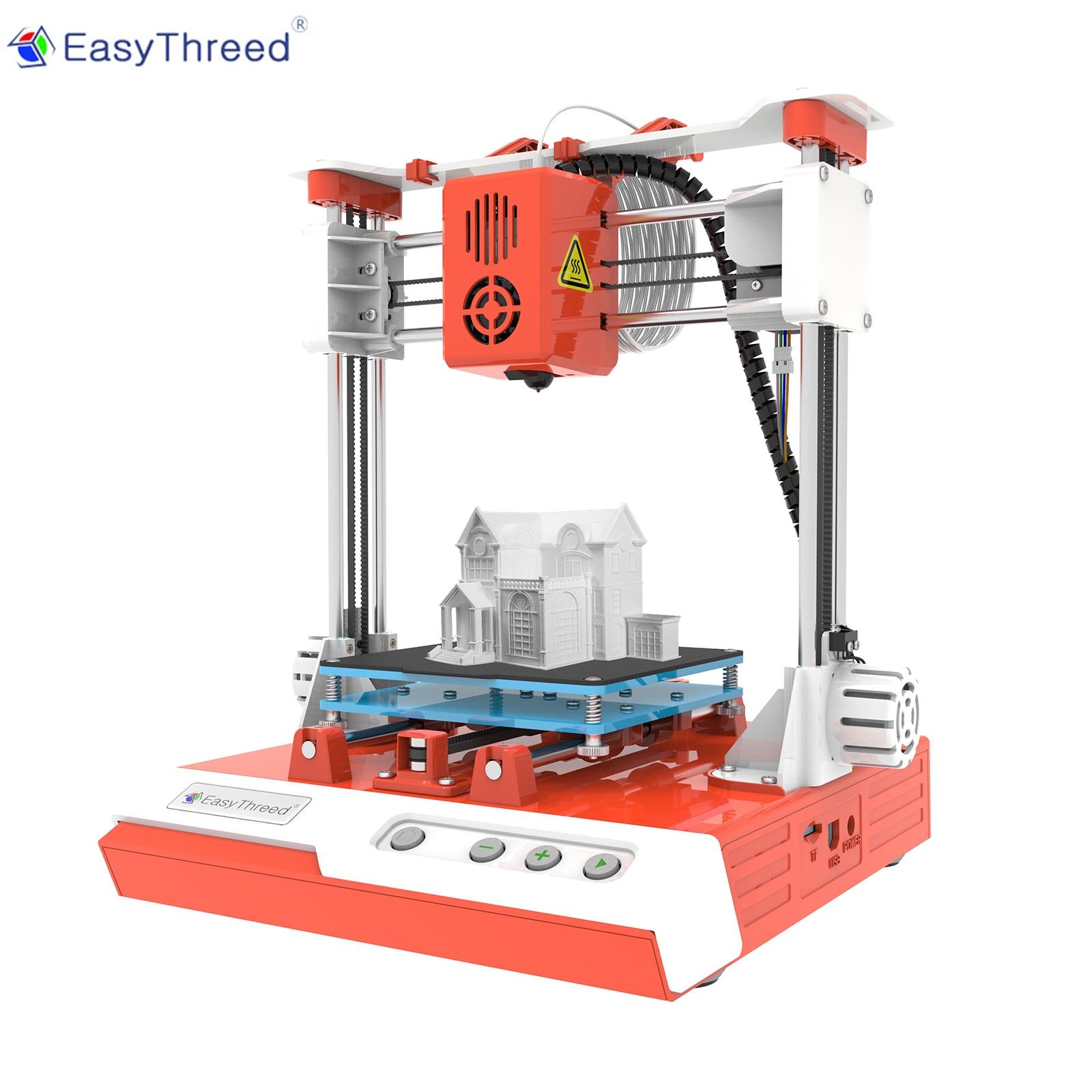 EasyThreed-طابعة صغيرة ثلاثية الأبعاد للأطفال ، دقة عالية ، 100 × 100 × 100 مللي متر ، طباعة صامتة مع بطاقة TF ، خيوط عينة PLA