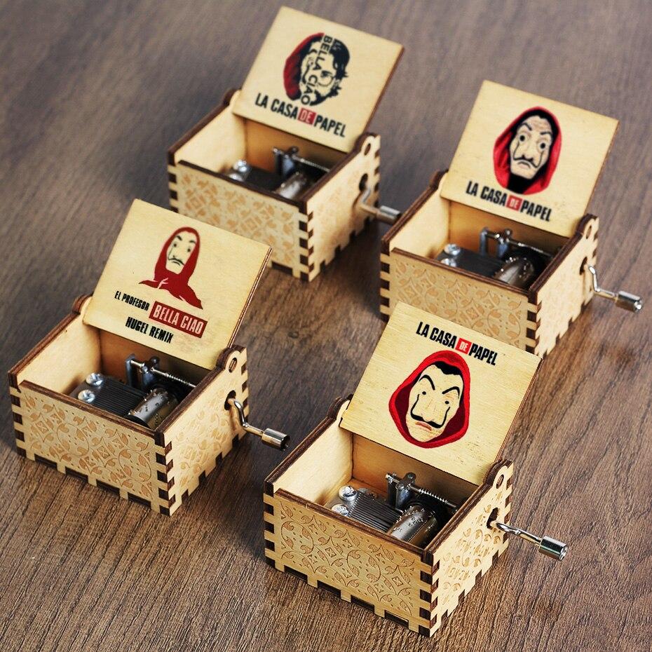 Caja Musical antigua DE PAPEL tallado DE madera Bella Ciao LA CASA DE PAPEL, caja Musical con manivela a mano, regalo DE cumpleaños y Navidad, decoración para ataúd