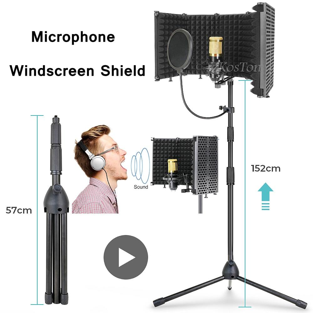 Dobrável com Kits de Tripé Escudo para K669 Filtro Microfone Condensador Tela Vento Isolamento Bm800 Mic Windscreen Pop