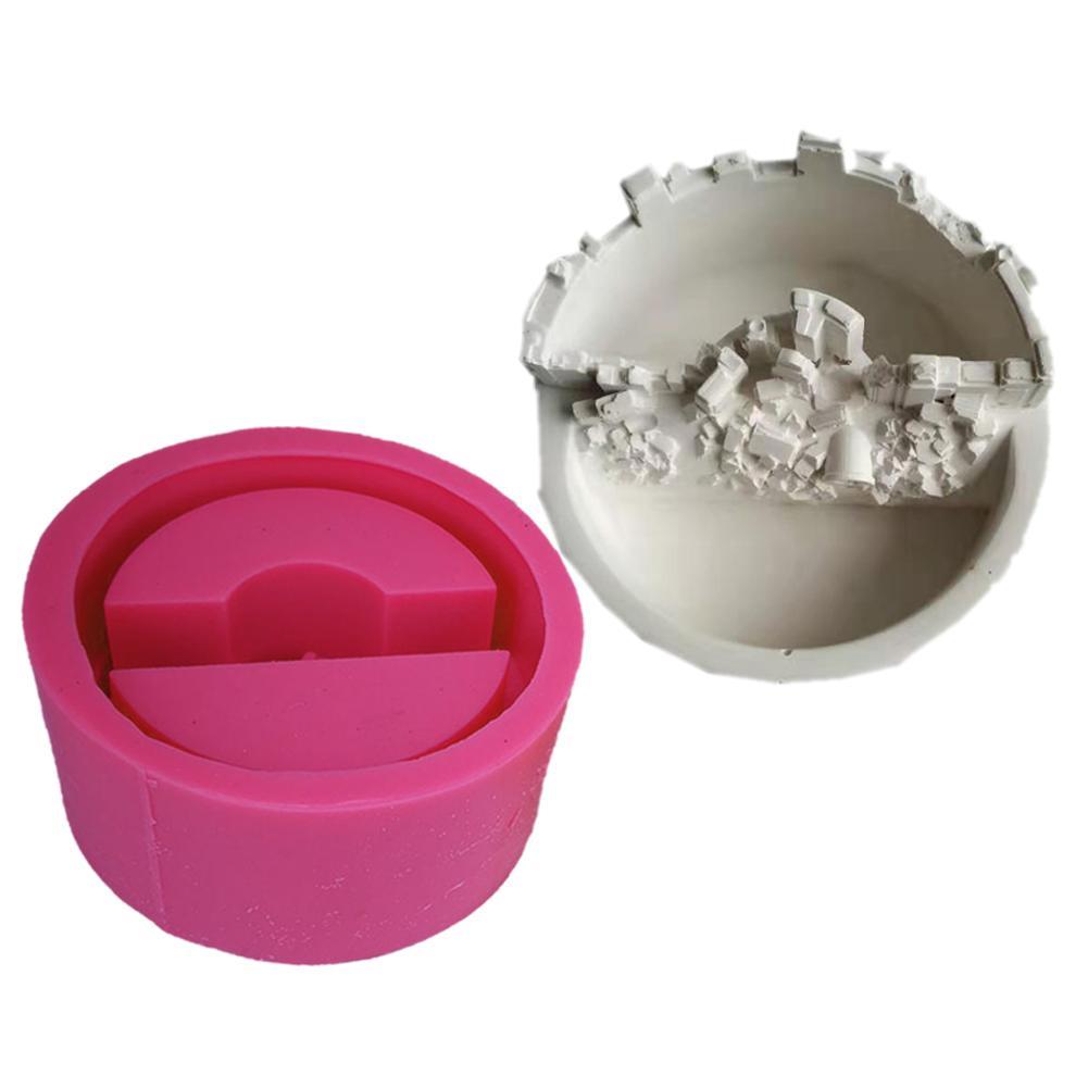 Novedosa olla de cemento 3D DIY que hace moldes de silicona artesanías de arcilla hechas a mano para hacer cemento molde plantas suculentas cemento planta
