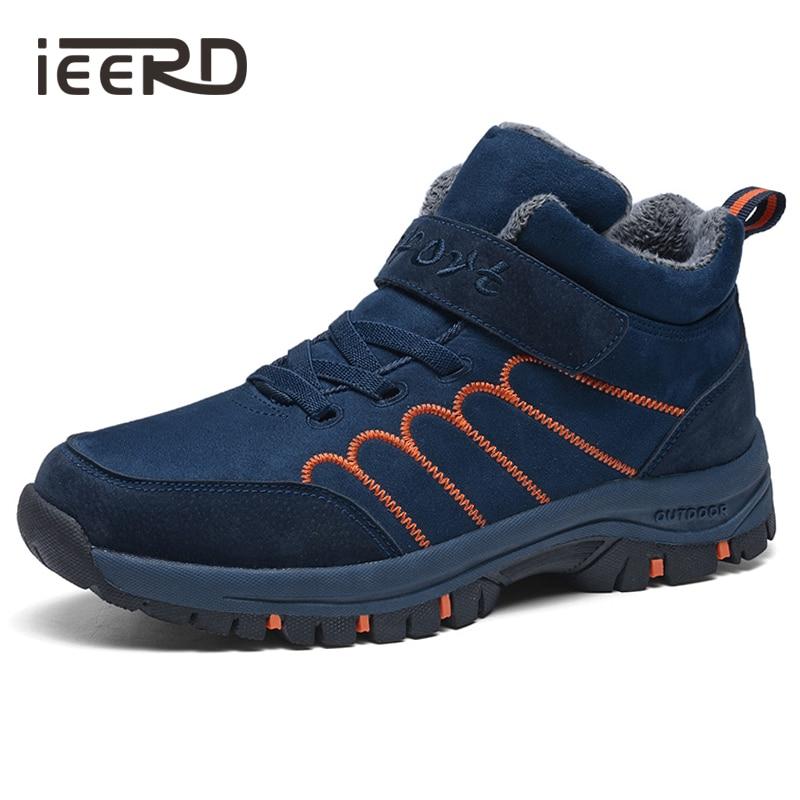 IEERD كبير حجم الرجال أحذية الشتاء الكاحل الرجال/النساء أحذية مع الفراء الدفء حذاء من جلد الغزال الثلوج الأحذية ل امرأة/رجل
