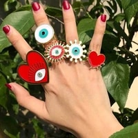new vintage gold plated devils eye ring exquisite heart eyes adjustable rings for women fashion jewelry accessories wholesale
