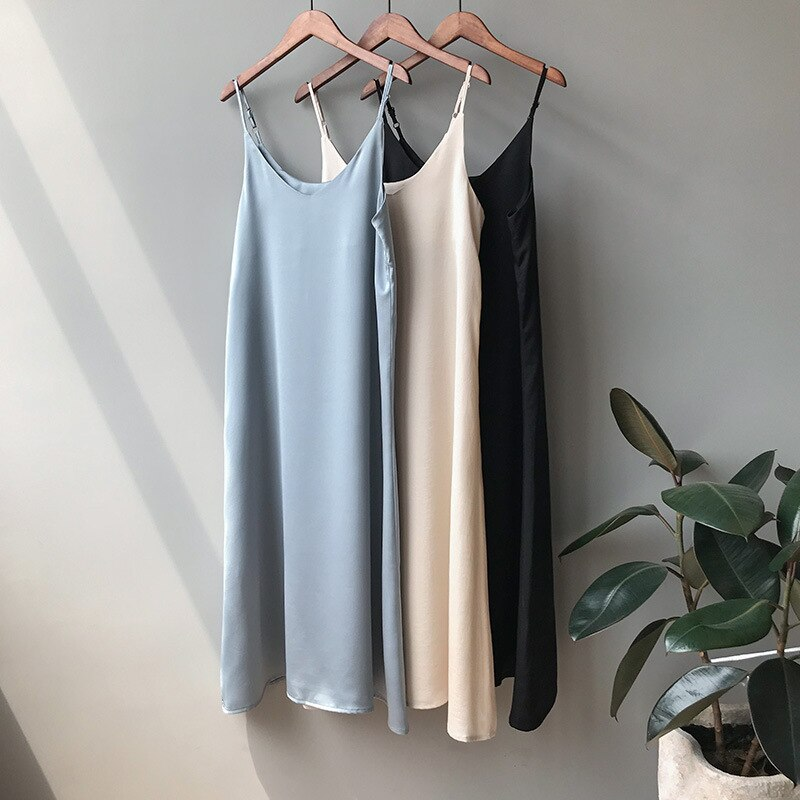 CMAZ Summer Satin Strap Dress Sexy Women Feminine Base Suspender Midi Dresses French Temperament Long Dress Vestidos 0368#