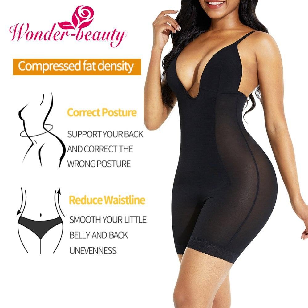 Woman's Underwear Sexy Backless Jumpsuit Lingerie Bodysuit Waist Trainer Tummy Control Deep V Bodystocking Push Up Corset Fajas