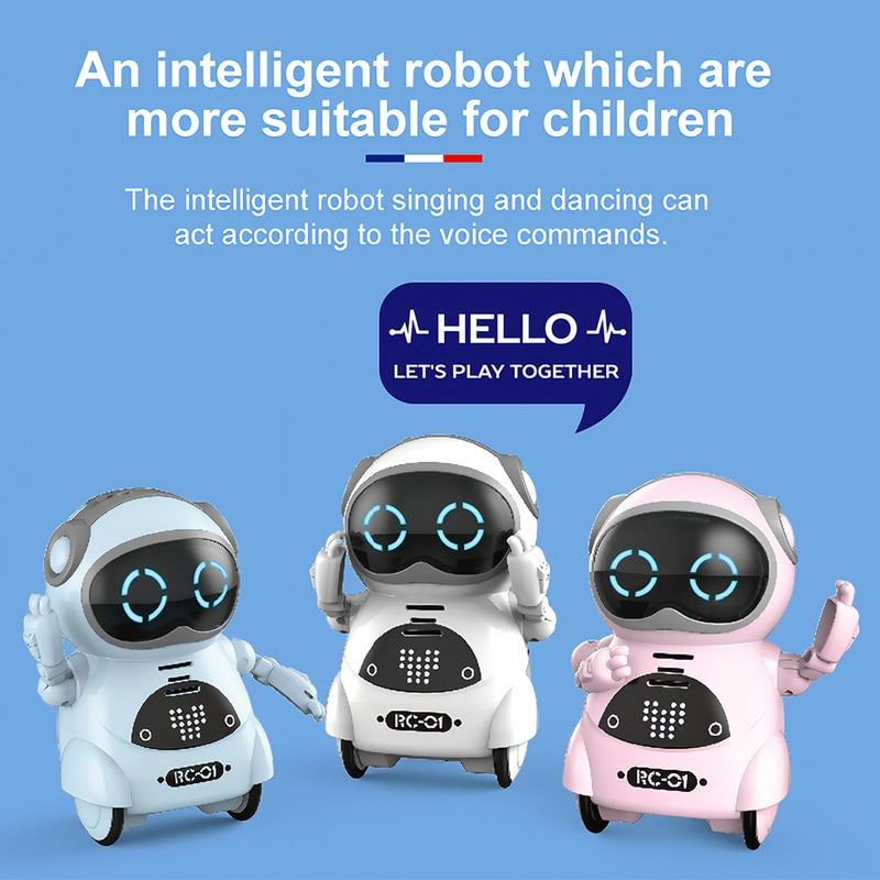 لغز الأطفال الكهربائية متعددة الوظائف صوت التعرف الذكي الغناء مصغرة الذكاء الاصطناعي جيب ألعاب روبوتية