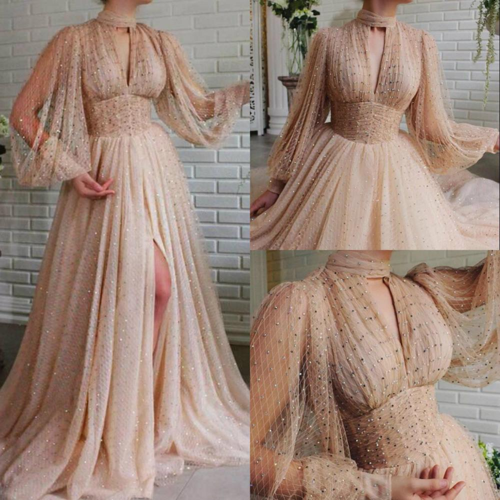Beaded Prom Dresses 2020 Lace High NeckLong Sleeve Special Occasion Dress Party Evening Robes De Soirée Plus Size