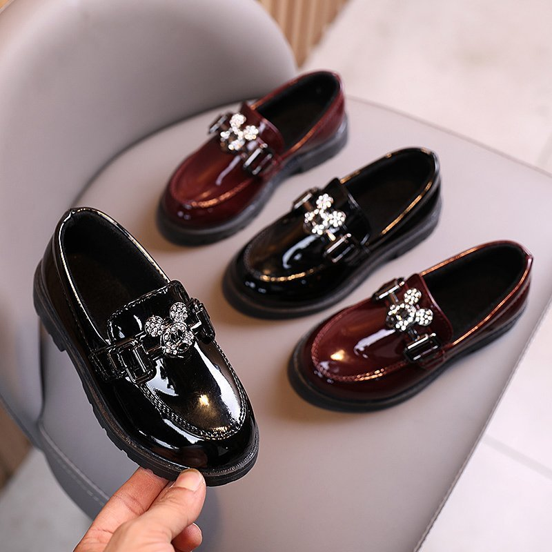 Solid Fashion Disney Children Casual Shoes High Quality Patent Leather Diamond Micky Kids Girls Toddlers
