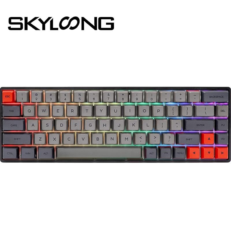 SKYLOONG SK68 68-llaves PBT Keycap USB tipo C caliente Teclado de cambio...