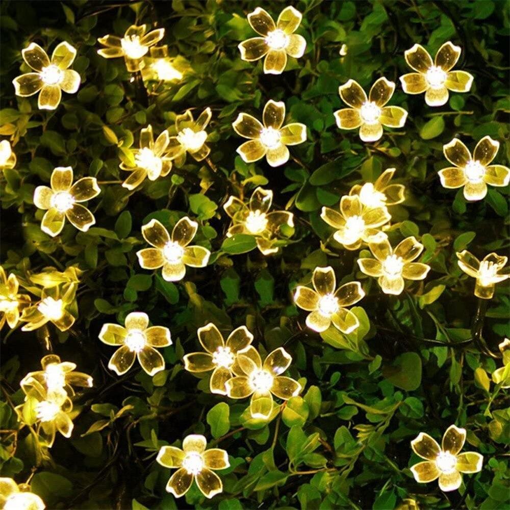 10/20/30 luces LED de cadena de flores de cerezo en forma de guirnalda de flores de cristal guirnaldas centelleantes luces de decoración para fiestas de Navidad y bodas
