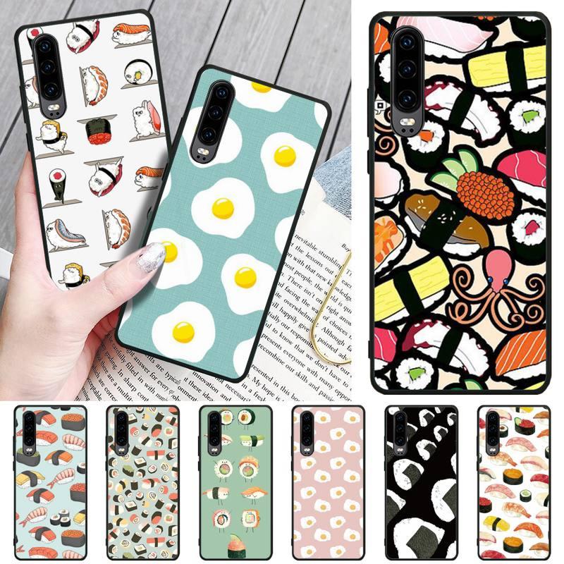Jemy Delicious sushi Black TPU Soft Phone Case Cover For Huawei P9 10 20 30 40 P Smart 20lite 2019 P30 lite Pro P9 lite 2017