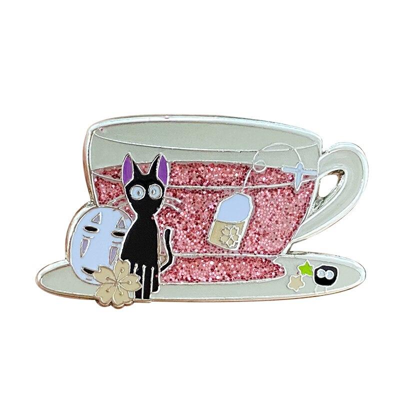 Sakura chá festa ghibli studio xícara de chá crachá fãs anime wow adição!