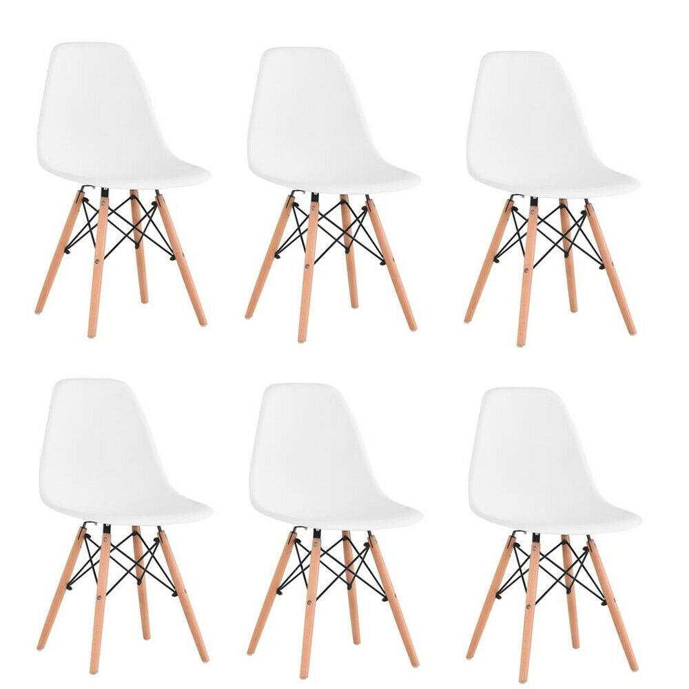 6Pcs/Set Dining Chair Nordic Style Office Chair Plastic Kitchen Chairs Wooden Feet Dining Room Living Room Chairs (White/Black)