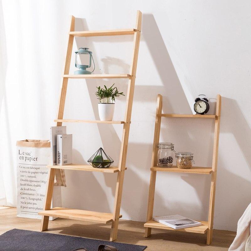 Planta piso de madera maciza escaleras estante para libros de pared organizador de almacenamiento de cocina sala de estantes para baño de pared estantes