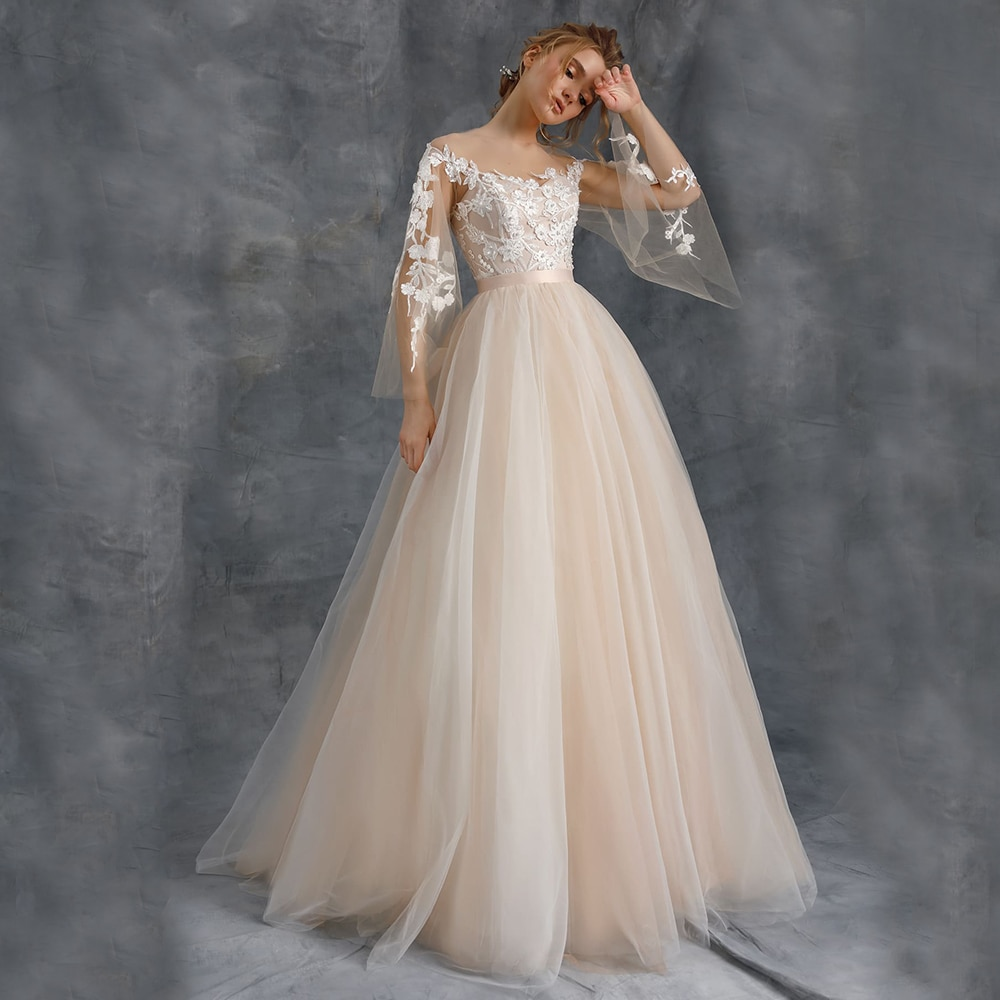Promo Elegant Champagne Long Train Tull Wedding Dress A Line Simple Bridal Gown For Woman Cap Sleeves Button Back With Applique Sashes