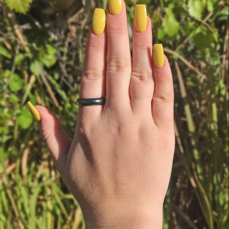 New Trendy Hematite Rings for Women Men 6 mm Width Flat/Faceted/Plain Black Personalized Couple Ring