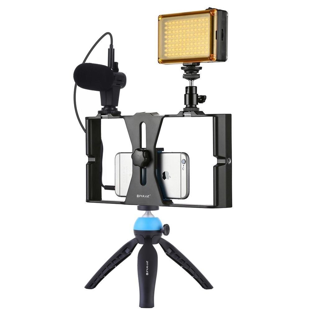 الفيديو الضوئي الهاتف الذكي فيديو تلاعب عدة قبضة مع ميكروفون ترايبود الكرة رئيس ل iPhone13 9 8 X