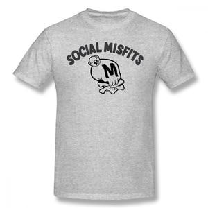 100% cottonSocial Misfits And Skull Metal Print Humor Graphic Men Women Basic Short Sleeve T-Shirt R234 Tops Tees European Size