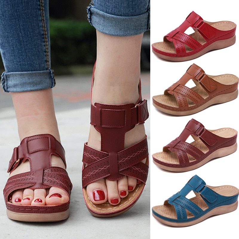 Women's Sandals Premium Orthopedic Open Toe Sandals Vintage Anti-slip Breathable for Summer Soft Beach Sole Plus (Random gift)