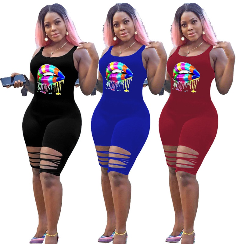 Solid Color Tank Top Cartoon Lip Print Hole Summer Women Jumpsuit European and American Sexy Style Model Rompers Playsuit star and stripe print tank top