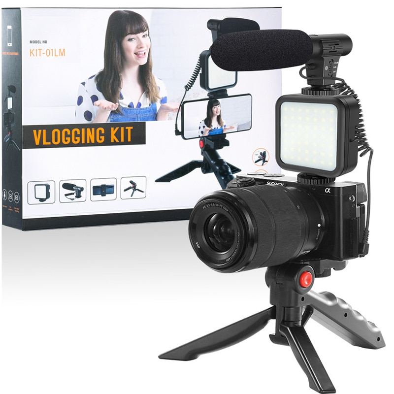 Professional Studio Microphone For Phone Camera Vlog Video Recording Condenser Microphone with Tripod LED Light Tabletop Stand enlarge