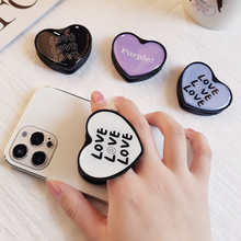 Letters Heart Shape Phone Holder For iPhone Redmi Samsung Plastic Strechable Grip Rotation Cellphone Stand Mount Bracket
