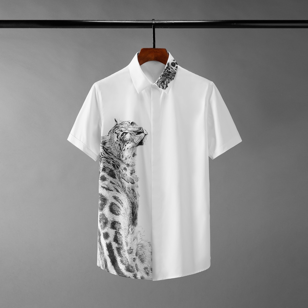 Minglu ليوبارد المطبوعة الصيف الذكور قمصان الفاخرة قصيرة الأكمام الرجال القمصان الأزياء سليم صالح حزب رجل قمصان زائد حجم 4xl