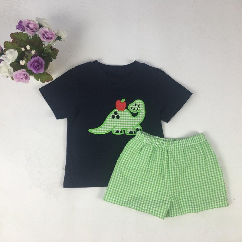 Puresun 2020 conjunto de Boutique de dibujos animados de moda Dinasour para bebés con pantalón de cuadros suaves