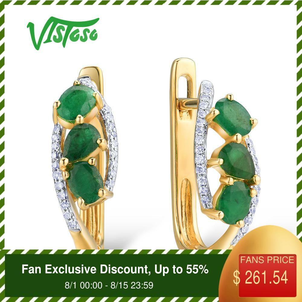 VISTOSO 14 585 K Ouro Amarelo Brincos de Ouro Para As Mulheres Pura Elegante Glamorous Natural Esmeralda Espumante Diamante Fine Jewelry Moda