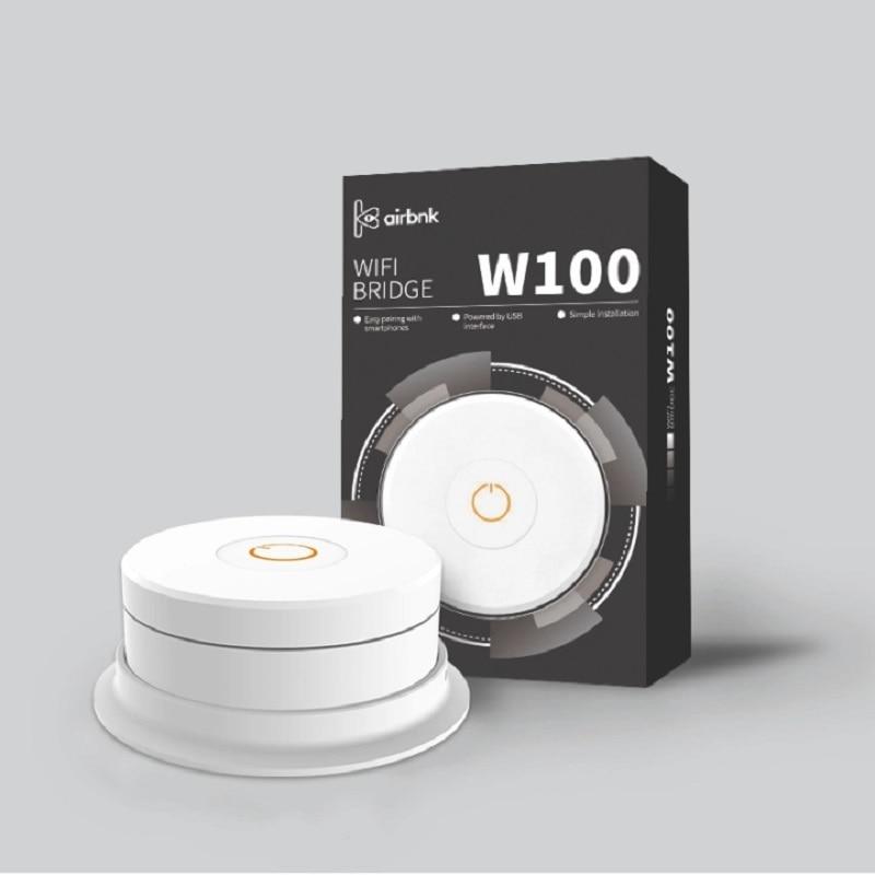 Airbnk W100-بوابة قفل الباب الذكية ، ملحق اتصال واي فاي جسر W100 ، بلوتوث ، واي فاي ، يعمل مع قفل الباب M300 M500