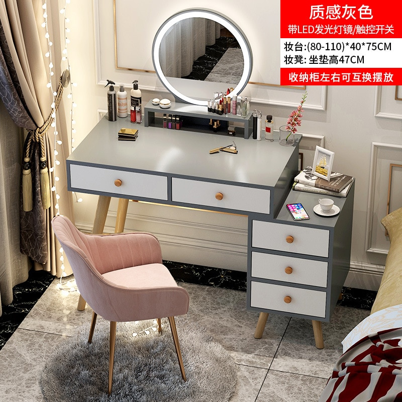 Desk and dressing table in one Light luxury dressing table bedroom modern minimalist storage cabinet integrated Nordic dresser multifunction flip lid dresser nordic storage cabinet girl lady bedroom furniture modern small dressing table desk