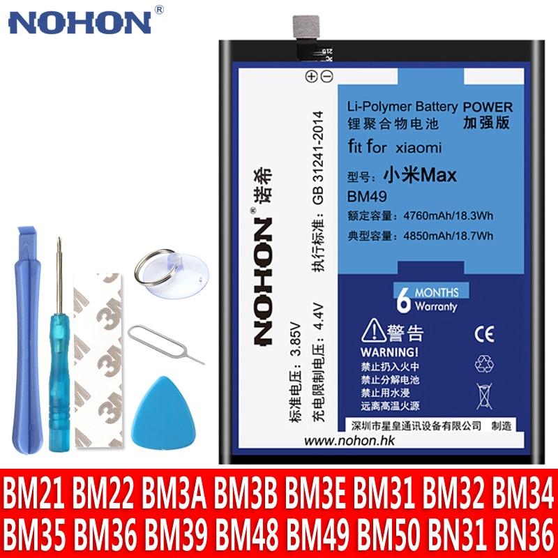 NOHON batería para Xiaomi mix Max 2 4C 5 5S 6 8 4 5X 6X nota 2 3 mi5 mi4C BM22 BM35 BM36 BM39 BM3E BM3B BM49 BM50 BN31 Bateria