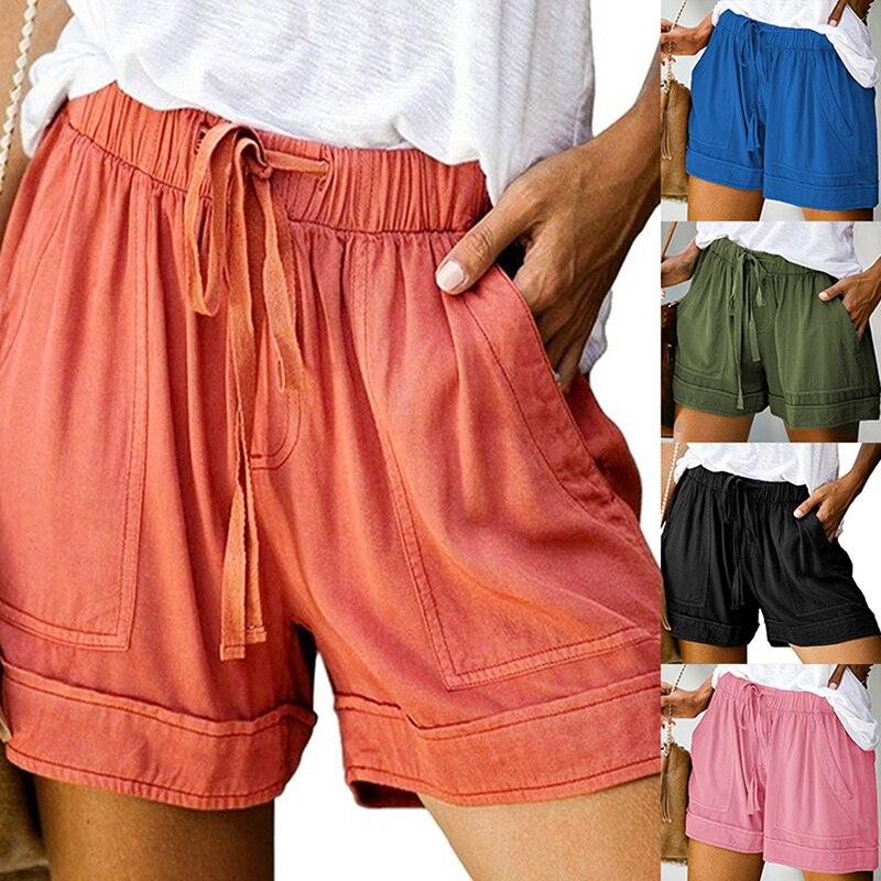 2021 mujeres pantalones cortos cómodos lazo empalme Casual cintura elástica se embolsó...