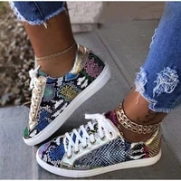 2021 fashion ladies party walking shoes ladies snake pattern platform comfortable sports lace up female pu sequin star shoes