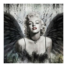 Marilyn Monroe nero ali di Pittura Diamante Rotondo Trapano Pieno Ritratto donna Nouveaute Mosaico FAI DA TE Ricamo 5D Croce regalo Punto