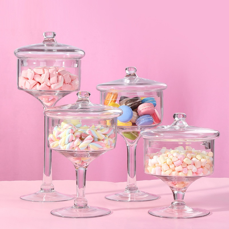 ارتفاع القدم دورق سكاكر زجاجي تخزين زجاجات الغبار واقية حامل الحلوى علب للحلوى الشاي العلبة صناديق تخزين جرة أدوات مطبخ