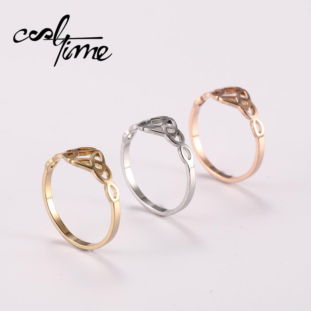 Cooltime novo padrão de aço inoxidável anel de bênção para homens e mulheres no casamento noivado anéis de promessa para casais