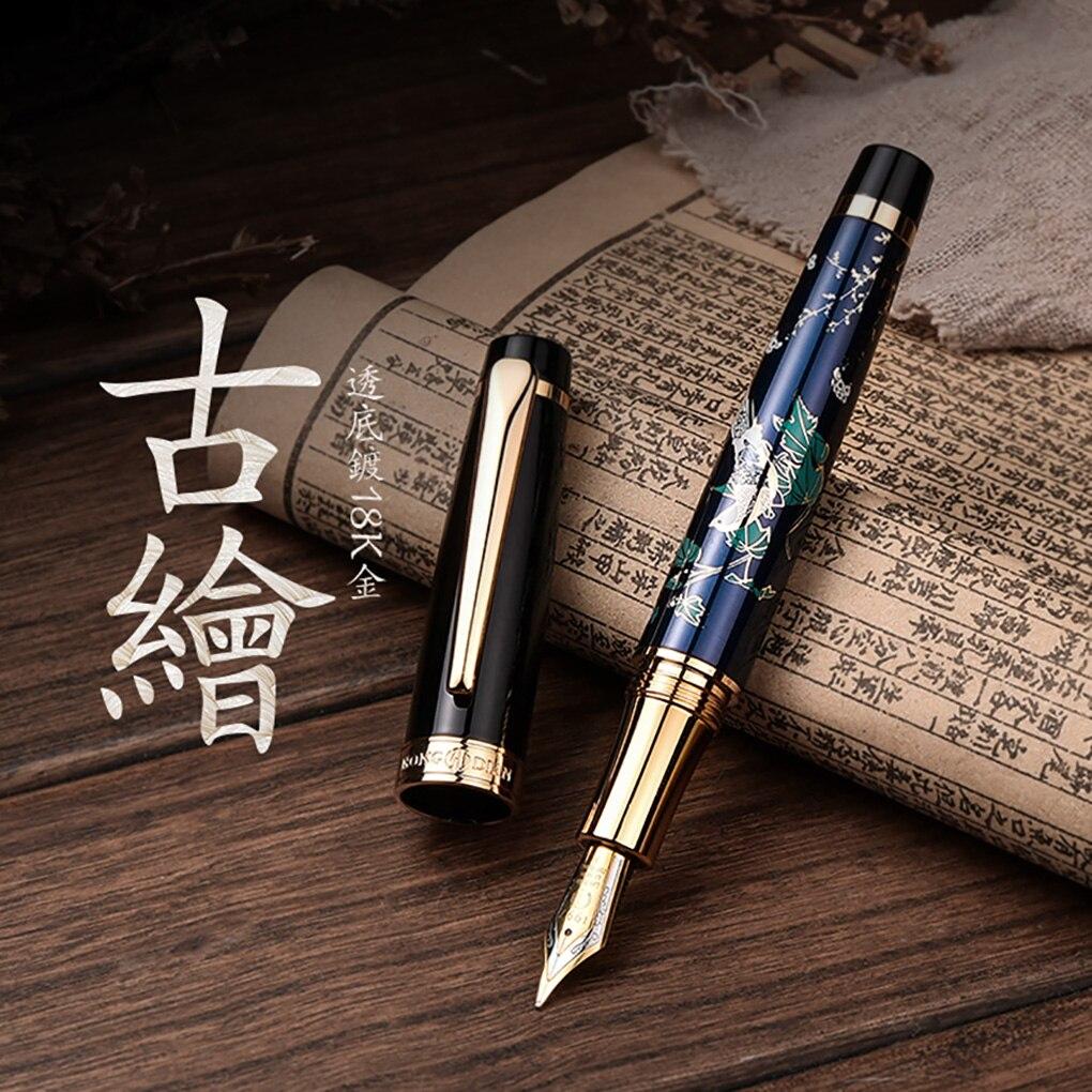 HongDian stylo à plume en métal dessin à la main bleu pie Iridium EF/ Fine/plume pliée stylo à encre excellente écriture cadeau stylo pour les entreprises