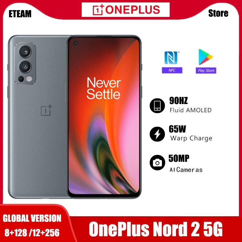 Смартфон глобальная версия OnePlus Nord 2, регулировка яркости, 128-AI, 8 ГБ, ГБ, камера 50 МП с ии, деформация заряда, 65 дюймов, 90 Гц, жидкий AMOLED дисплей
