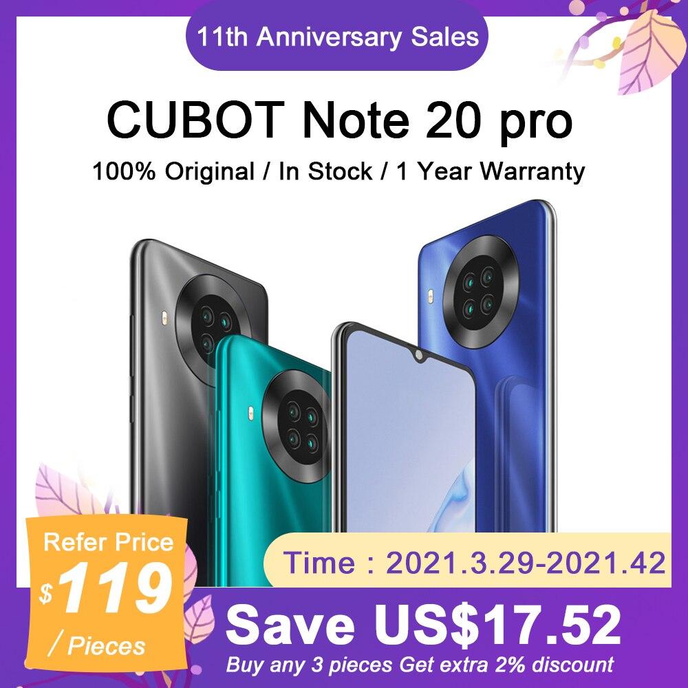8+128GB CUBOT Note 20 Pro Smartphone 6.5″HD+Display 20MP Quad Camera 4200mAh 4G Dual SIM NFC Android 10