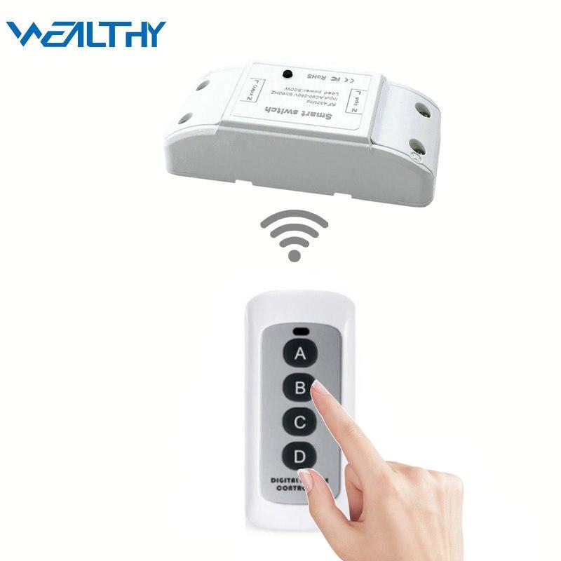 Interruptores de RF de hogar inteligente, módulo de interruptor de control remoto de 433 MHZ, AC90v-250v receptor de relé para lámpara de LED de pared sin necesidad de recableado