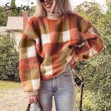 Simplee décontracté laine dagneau plaid sweat à capuche pour femme sweats col rond pull ample femme sweat automne hiver dames manteau chaud
