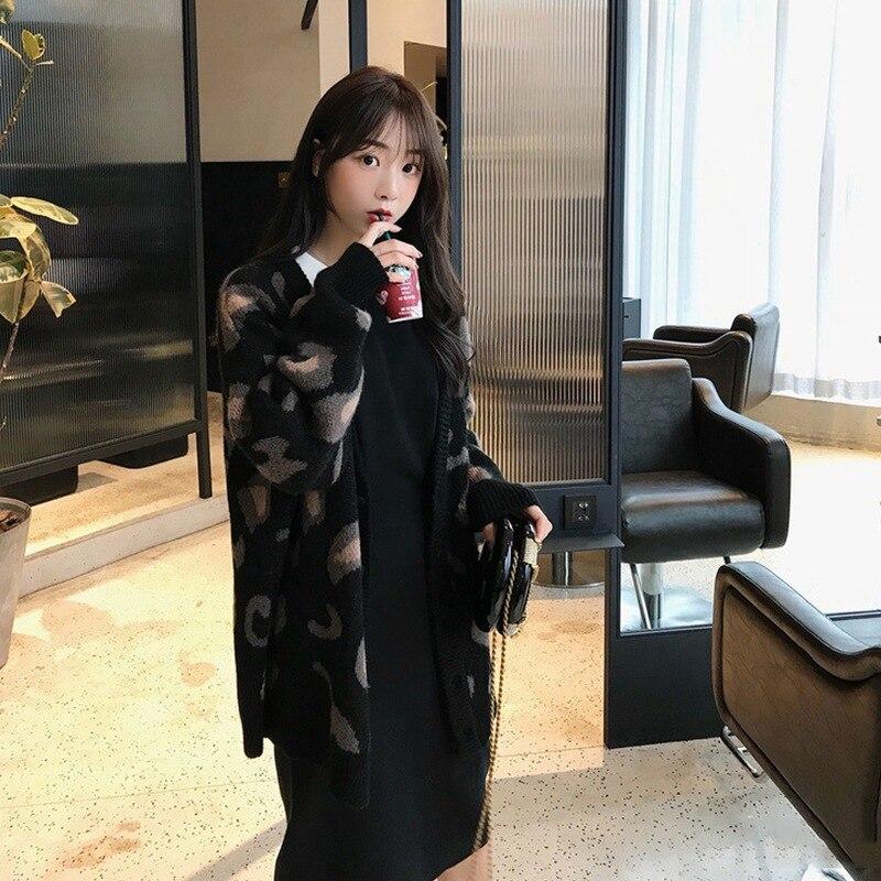 Nuevo Cardigan suéter mujer estilo estudiantil suelto coreano Poplar estilo perezoso estampado de leopardo Base DE-breasted chaqueta
